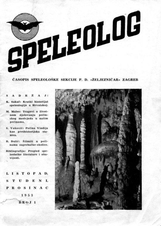 Speleolog, godište 1, br. 1, 1953.