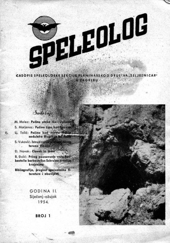 Speleolog, godište 2, br. 1, 1954.