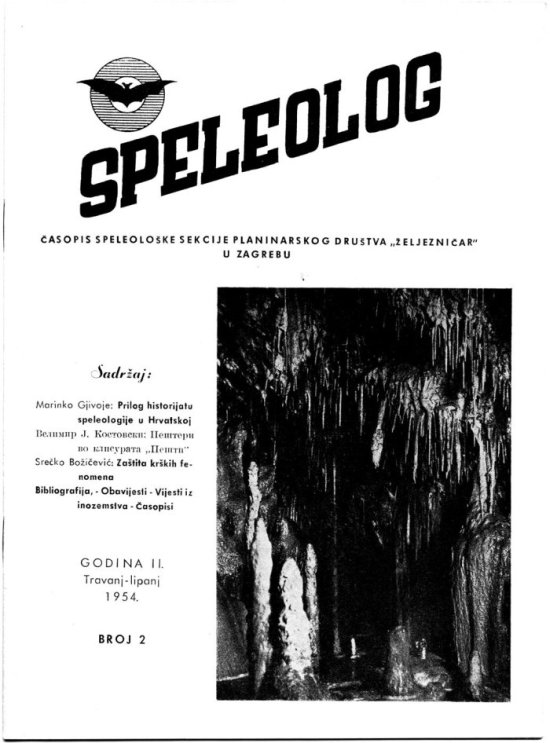 Speleolog, godište 2, br. 2, 1954.