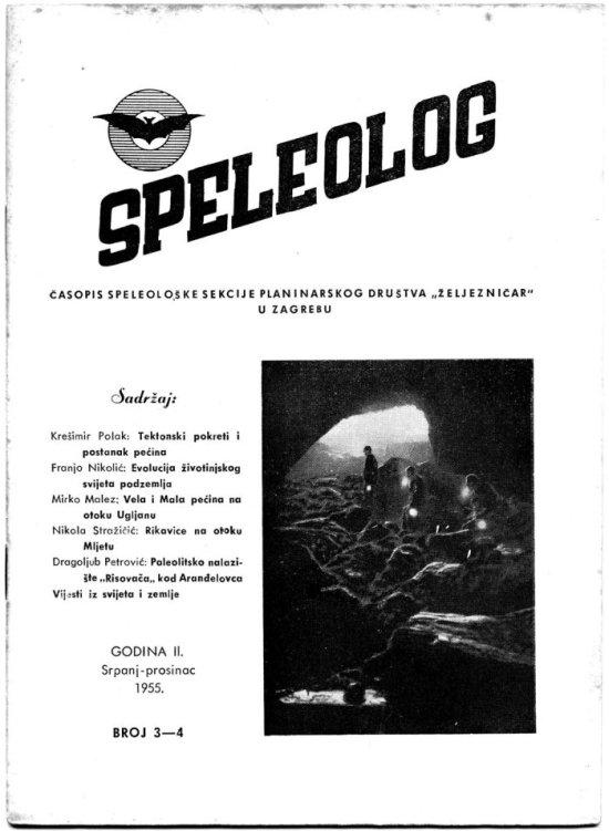 Speleolog, godište 2, br. 3-4, 1954.