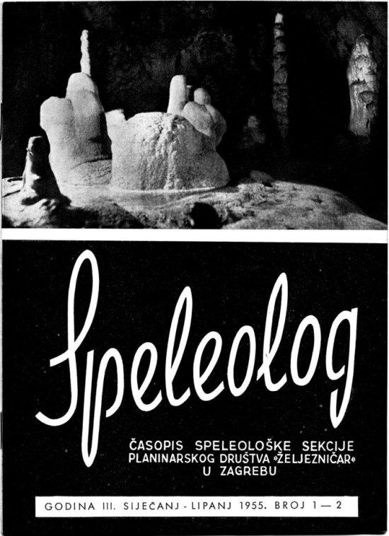 Speleolog, godište 3, br. 1-2, 1955.