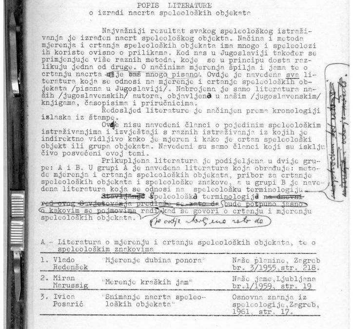Skupina autora: Popis literature o izradi nacrta speleoloških objekata (1978)